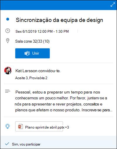 Calendário Espreitar para o Outlook para a web.