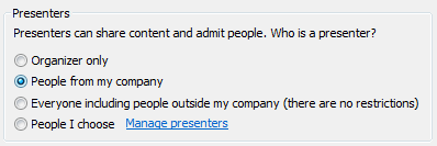 Configurar opções de apresentador