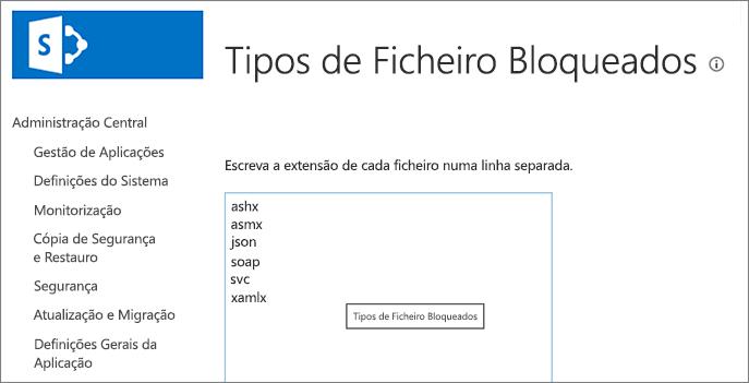 Lista de ficheiros bloqueados