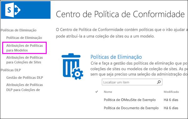Ligar as atribuições de modelos de políticas