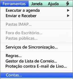 Ferramentas do Outlook para Mac > Contas