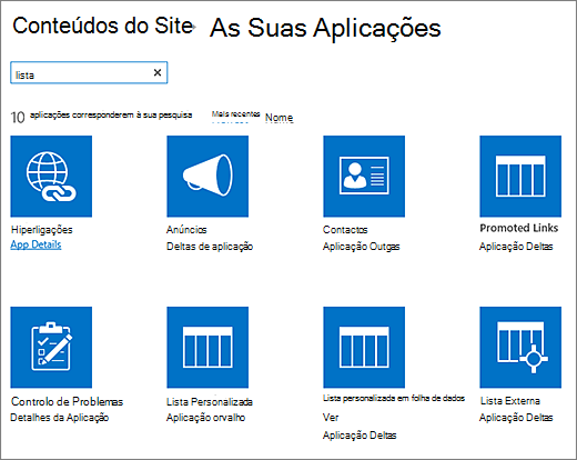 Lista de aplicações na página conteúdos do Site