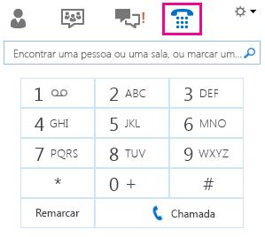 Captura de ecrã do teclado de marcação para ligar para um contacto