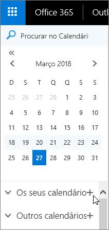 Uma captura de ecrã mostra as áreas dos Seus Calendários e Outros Calendários no painel de navegação do Calendário.
