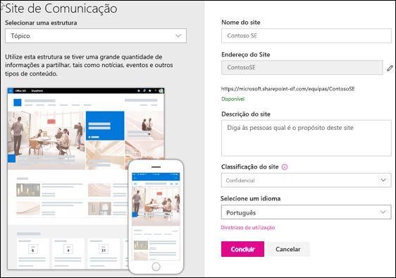 Criar um site de comunicações do SharePoint