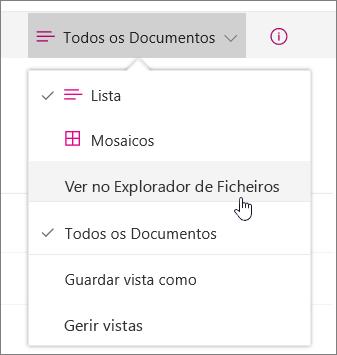 A opção Abrir com o Explorador realçada no menu de vistas no SharePoint Online