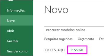 Clique em Novo e em Pessoal para localizar o novo modelo