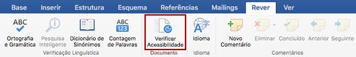 Captura de ecrã do friso Rever com o ícone da opção Verificar Acessibilidade
