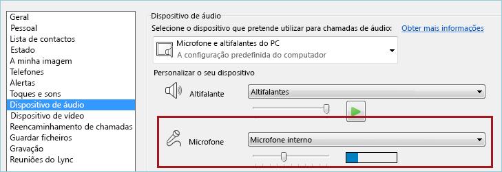 Captura de ecrã da verificação áudio do microfone do Lync