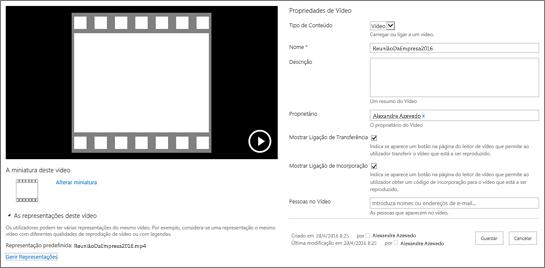 Página de propriedades do vídeo