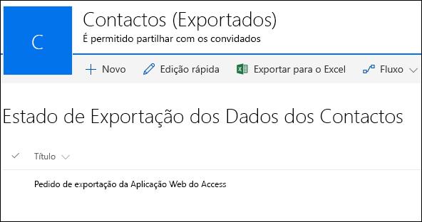 Lista do SharePoint com um registo com o título Pedido de exportação da Aplicação Web do Access