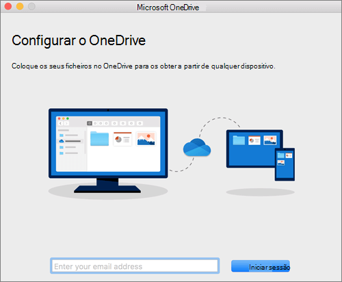 Captura de ecrã a mostrar a primeira página da Configuração do OneDrive