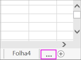Botão para apresentar os separadores de folhas de cálculo ocultas