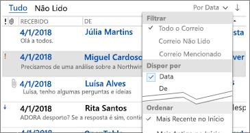 Lista de filtros disponíveis para ordenar mensagens