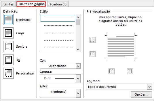 Separador Limite de Página da Caixa de diálogo Limites e Sombreado do Word 2010