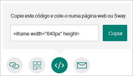 Copiar uma ligação para o seu formulário que possa incorporar numa página Web ou Sway