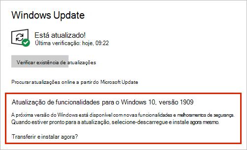 Atualização do Windows mostrando a colocação da atualização de funcionalidades