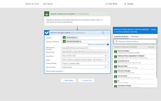 Captura de ecrã a mostrar a opção para adicionar conteúdos dinâmicos