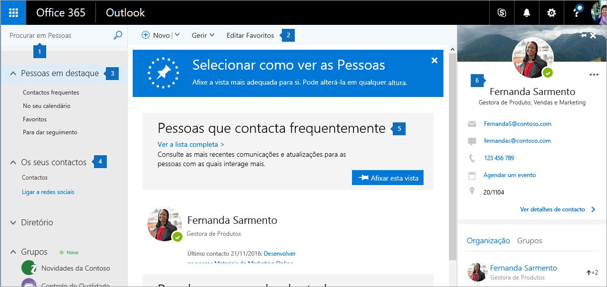 Uma captura de ecrã a mostrar a página Pessoas.
