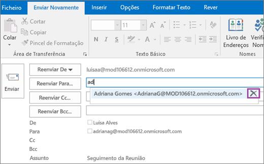Captura de ecrã a mostrar a opção Enviar Novamente para uma mensagem de e-mail. No campo Reenviar, a funcionalidade Conclusão Automática fornece o endereço de e-mail do destinatário com base nas primeiras letras escritas do nome do destinatário.