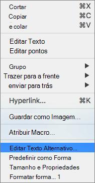 Menu do Excel 365 editar Alt texto para formas