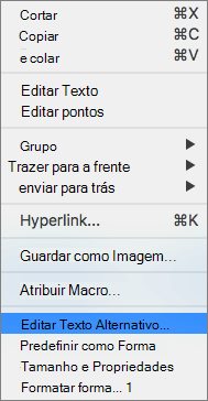 Excel 365 Editar menu alt text para formas