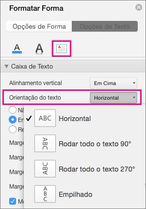 A direção do texto está realçada no painel Formatar Forma.