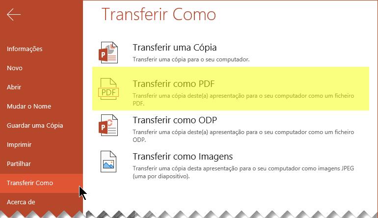 Selecione Ficheiro > Transferir como > Transferir como PDF