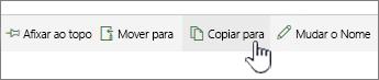 Botão Copiar para no menu principal