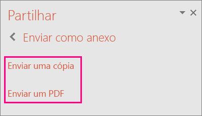 Apresenta a ligação Enviar um PDF no PowerPoint 2016