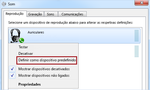 Definir dispositivo como predefinição no Windows