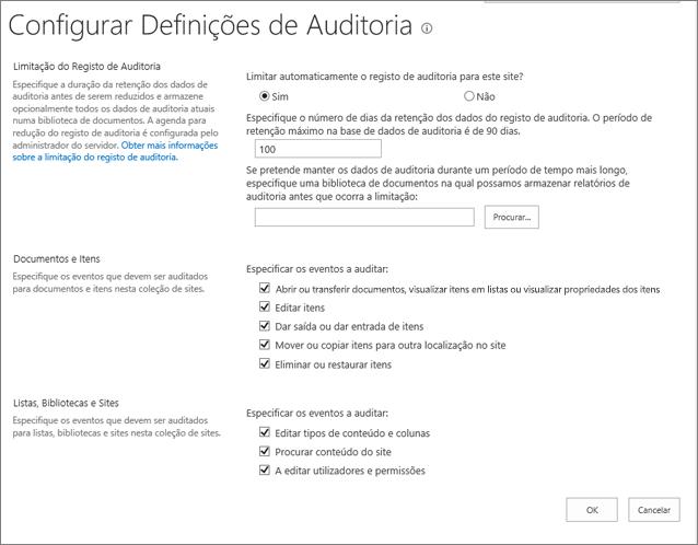 Configurar Definições de auditoria na caixa de diálogo Definições do Site