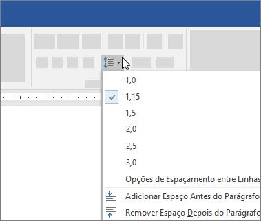 Opções de espaçamento entre linhas na caixa de diálogo parágrafo