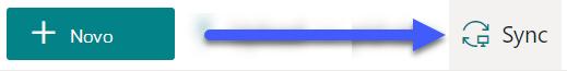 Nas bibliotecas de documentos SharePoint, o botão Sync está disponível perto do topo da página.