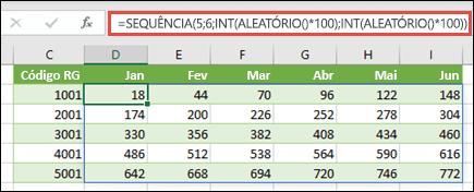 Exemplo de SEQUÊNCIA aninhadas com INT e ALEATÓRIO para criar um conjunto de dados de exemplo