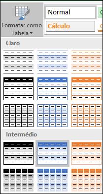Seleções na Galeria de Estilos do Excel da opção Formatar como Tabela