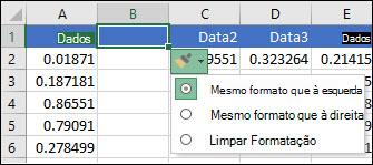 Imagem do botão Opções de inserção que é apresentado depois de inserir linhas ou colunas.