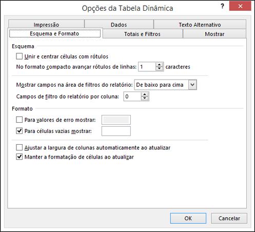 Caixa de diálogo Opções da Tabela Dinâmica