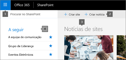 Página principal do SharePoint Online