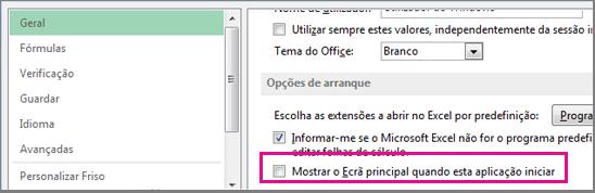 Opção do Excel para desativar o ecrã inicial ao abrir o Excel