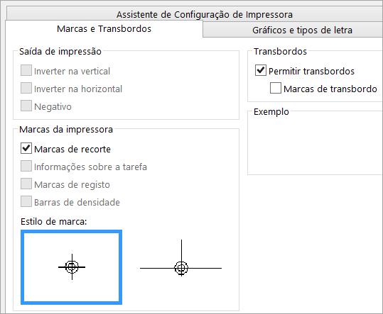 Selecione a caixa de verificação de marcas de recorte no separador marcas e transbordos