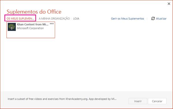 Caixa de diálogo Suplementos do Office com os meus suplementos realçados
