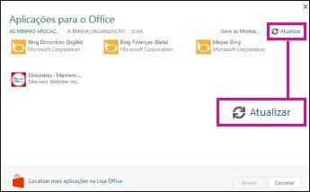 Botão Atualizar das Aplicações para o Office