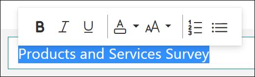 Opções de formatação, como negrito, sublinhado e itálico, no Microsoft Forms