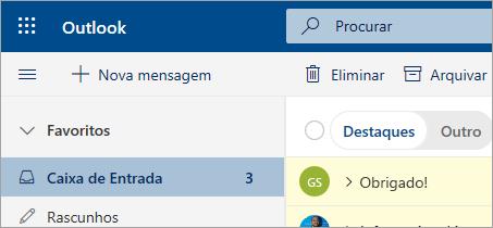 Uma imagem do Mail in the Outlook na web beta