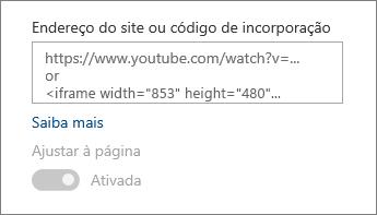 Colar um URL do vídeo ou código de incorporação para o campo