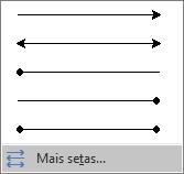 Clique em Mais Setas na parte inferior do menu Setas.