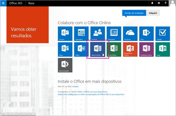 Selecione uma aplicação do Office Online