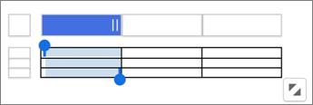 Ecrã tátil alças para redimensionar colunas e linhas