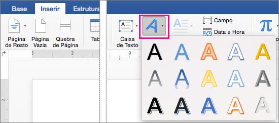 Separador Inserir com a opção WordArt realçada.